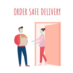 Safe food delivery. Young courier delivering grocery order to the home of customer girl with mask and gloves during the coronavirus pandemic. Cartoon flat vector illustration.