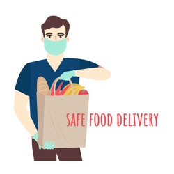 Safe food delivery. Young courier delivering grocery order to the home of customer with mask and gloves during the coronavirus pandemic. Vector cartoon flat illustration isolated on white background.