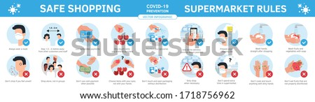 Safe grocery shopping during coronavirus epidemic best practices and advices. Prevention virus flu infographic. Flat cartoon ftyle illustration set of social rules in supermarket and store.