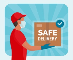 Safe home delivery during coronavirus covid-19 epidemic: man wearing gloves and face mask while delivering a parcel