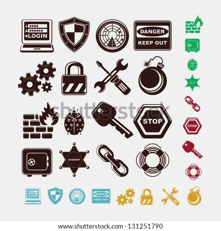 safe icons in five colors