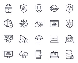 Safe internet line icon set. Collection of internet signs for web design and mobile app. Safer Internet Day pictograms. Lock, password, computer, laptop, umbrella, cloud protect, shield black icon