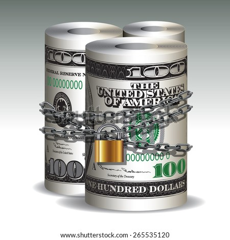 Safe secure chain locked of hundred dollars roll. Vector illustration