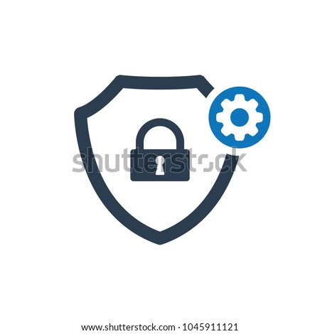Safe setup icon. Security icon with settings sign. Security icon and customize, setup, manage, process symbol. Vector icon