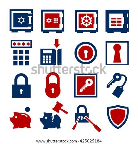 safe  vault icon set