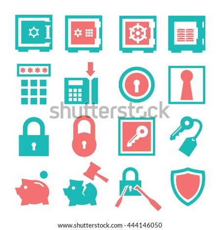 safe  vault icon set