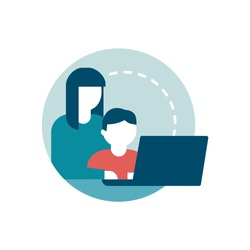 Safe web surfing for kids: a mother is connecting with her child