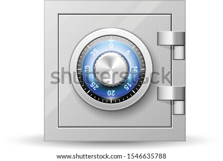 Safe with combination lock - vault strongbox, lock box with turning knob with numbers Stock photo ©