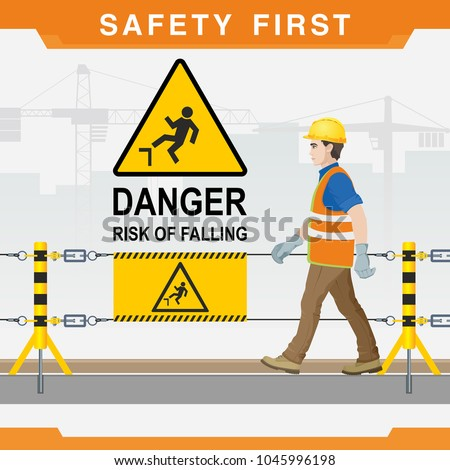 Safety at the construction site. Danger. Risk of falling. Vector illustration