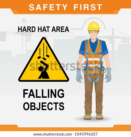 Safety at the construction site. Falling objects. Hard hat area. Vector illustration