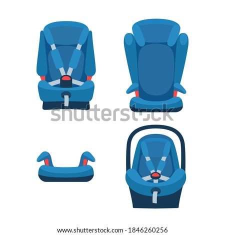 Safety baby car seats collection. Different type of child restraint. Booster front view. Isolated objects. Vector illustration on white background Foto stock ©