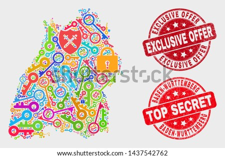 Safety Baden-Wurttemberg Land map and seals. Red round Top Secret and Exclusive Offer distress seals. Colored Baden-Wurttemberg Land map mosaic of different security symbols.