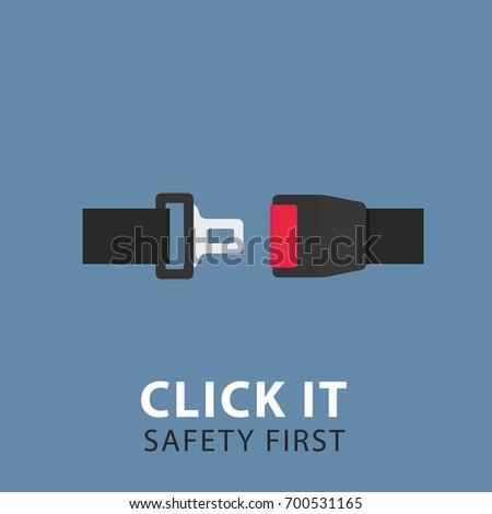 Safety Belt Illustration. Flat Design of Seat Belt