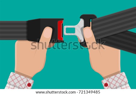 Safety belt in hand. Seat belt for protection. Lifesaver. Safety equipment for car and plane. Vector illustration in flat style