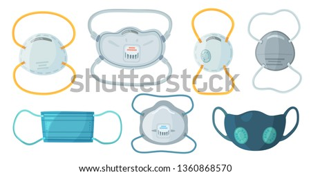 Safety breathing masks. Industrial safety N95 mask, dust protection respirator and breathing medical respiratory mask. Hospital or pollution protect face masking. Cartoon vector isolated symbols set