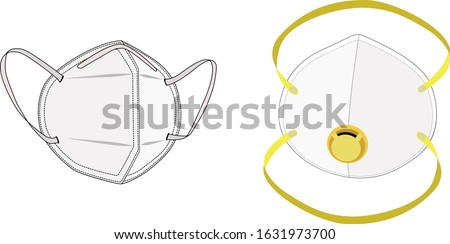 Safety breathing masks. Industrial safety N95 mask, dust protection respirator and breathing medical respiratory mask. Hospital or pollution protect face masking. - vector