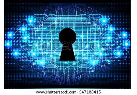 Safety concept, Closed Padlock on digital, cyber security, Blue abstract hi speed internet technology background illustration. key. vector