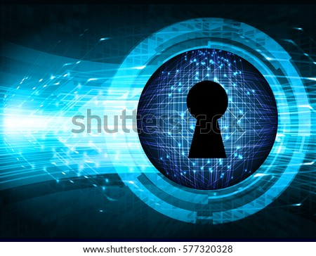 Safety concept, Closed Padlock on digital, cyber security, Blue abstract hi speed internet technology background illustration. key vector