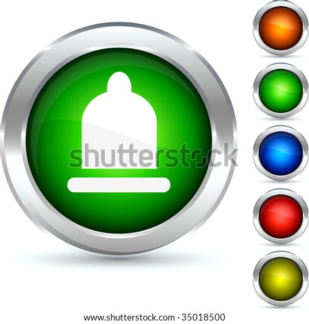 Safety detailed button. Vector illustration.