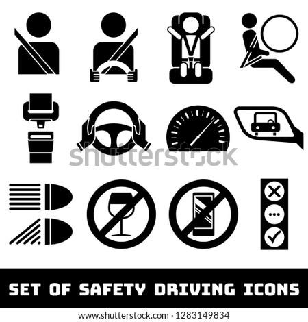 Safety Driving theme vector icons set. Seat belts, airbag, rules, baby car seat, traffic light, etc. Isolated