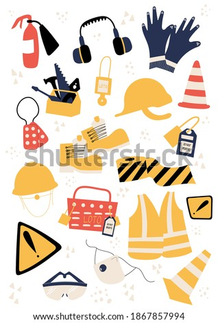 Safety equipment and PPE clipart with helmet, earmuffs, safety cone, fire extinguisher, tools, LOTO box, locks, multipack, safety boots, warning black yellow strip, danger sign, high visibility vest Foto stock ©