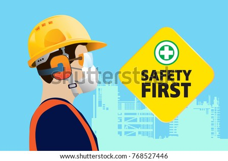 safety equipment, construction concept, Yellow safety hard hat. Vector illustration