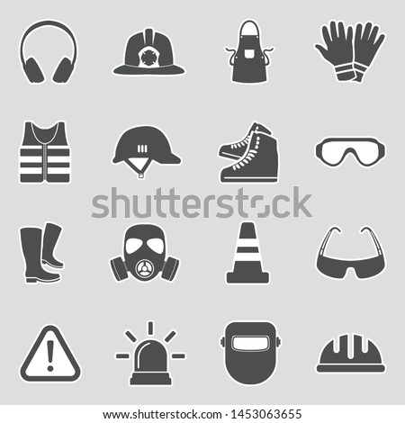 Safety Equipment Icons. Sticker Design. Vector Illustration.
