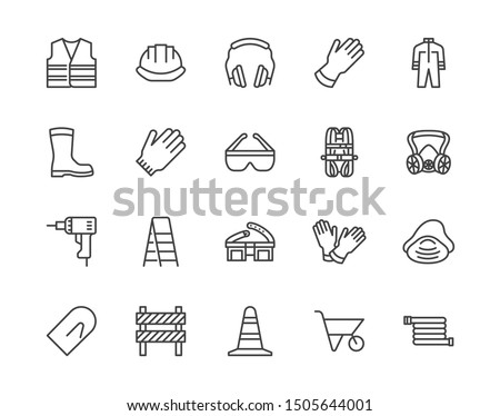 Safety equipment, required PPE flat line icons set. Protective gloves builder helmet respirator, harness vector illustrations. Outline signs personal protection. Pixel perfect. Editable Strokes.