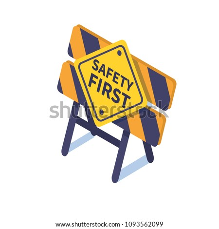 Safety first concept banner with characters.  Flat isometric vector illustration isolated on white background.