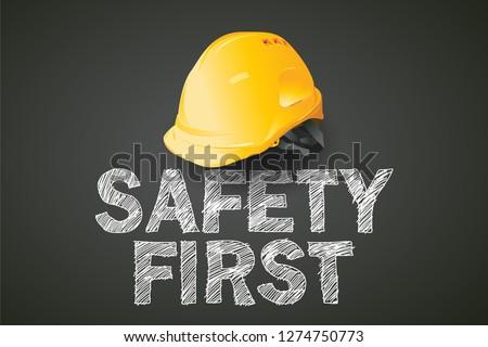 safety first, construction concept, vector design