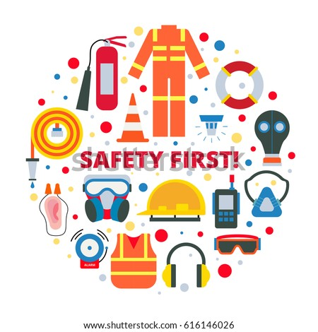 Se Rompio further  on safety first equipment supplies vector illustration 616146026