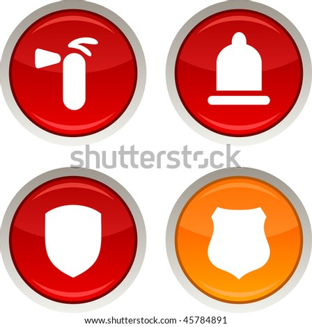 Safety glossy icons. Vector buttons