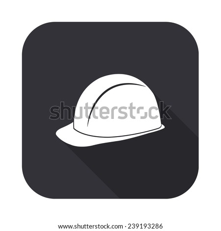 safety hard hat icon - vector illustration with long shadow isolated on gray