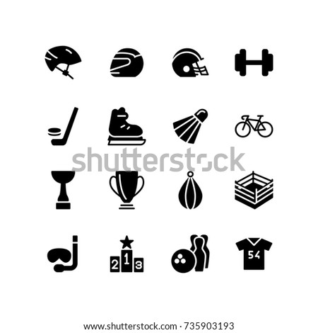 Safety helmets and sports icon set