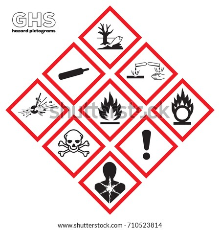 Safety icon Chemical signs Global healthy sign. GHS Physical hazards signs.Explosive,Flammable,Oxidizing, Compressed Gas, Corrosive, toxic, Harmful, Health hazard, Corrosive, Environmental hazard.