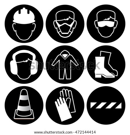 Safety Wear Signs Goggles Harness Stock Photo 508546306