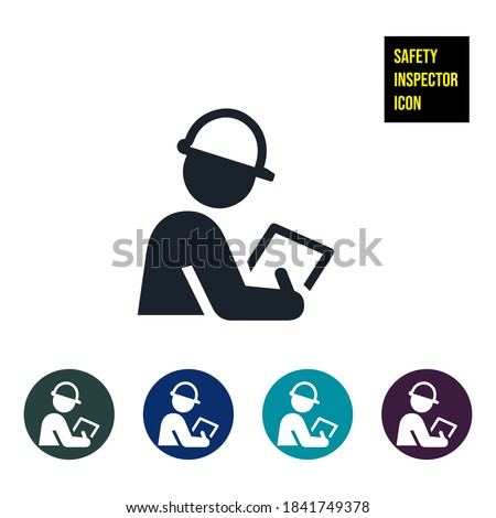 Safety Inspector Icon stock illustration. An icon of a safety inspector with hard hand and clipboard. The safety inspector uses a pen to right down the inspection results on paper.