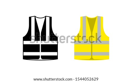 Safety jacket security icon. Vector life vest yellow visibility fluorescent work jacket. Foto stock ©