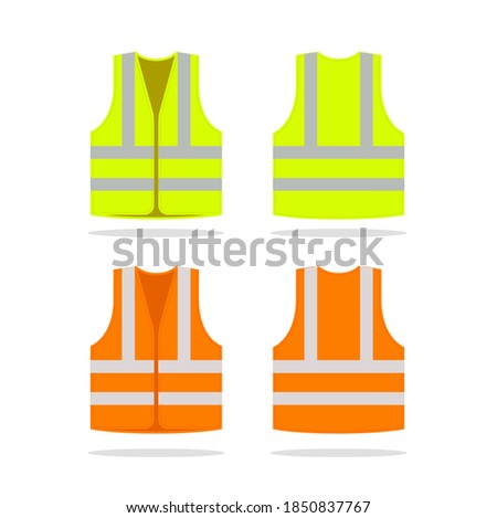 Safety jacket security icon. Vector life vest yellow visibility fluorescent work jacket Foto stock ©