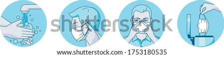 safety mask fitting instructions. man putting on a surgical face covering Stockfoto ©