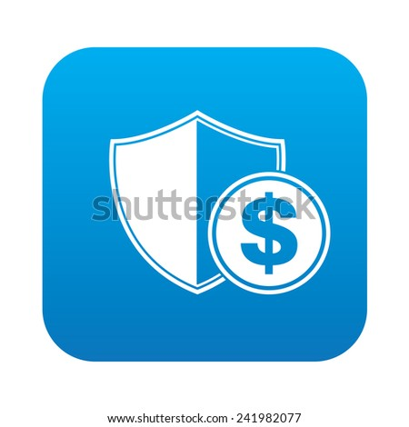 Safety money icon on blue button background,clean vector Zdjęcia stock ©