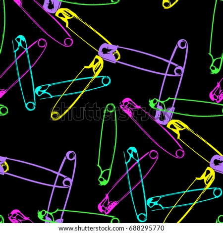 Safety pin seamless pattern. Grunge texture for textile, wallpaper, fabrics. Colorful neon  details on a black background. Vector illustration EPS 8