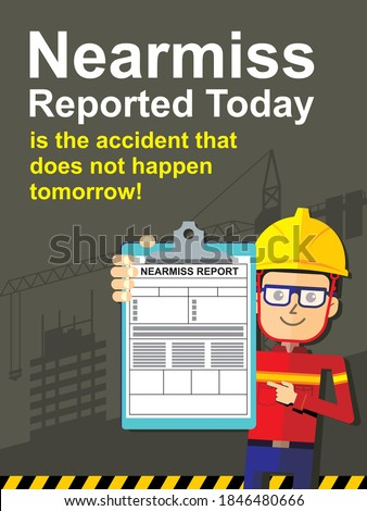Safety poster design of reported near miss accident. Graphic illustration. Foto stock ©