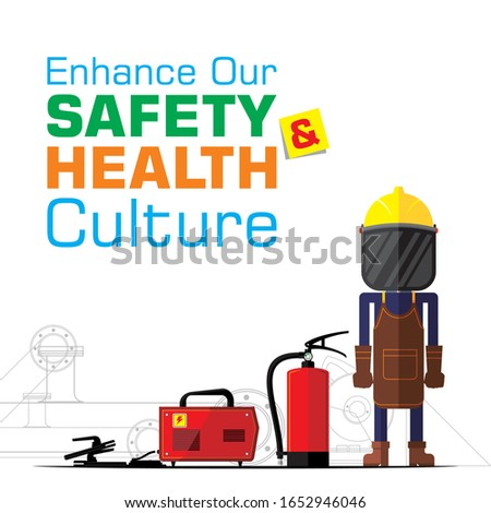 Safety Poster for construction site project. Hot work, welding.