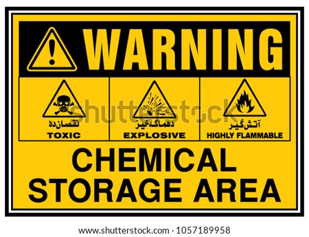 Safety Signs,Urdu, Chemical Storage Area