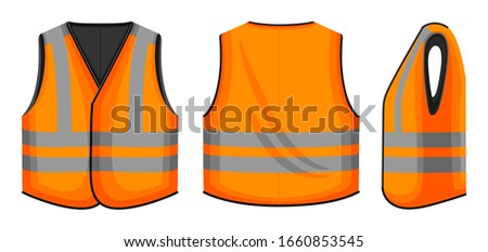 Safety vest vector illustration on white background . Jacket of worker vector cartoon set icon. Isolated cartoon set icon safety vest. Stock fotó ©