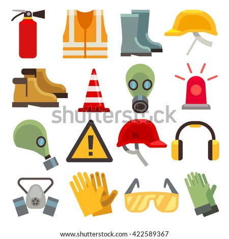 Safety work flat vector icons set.
