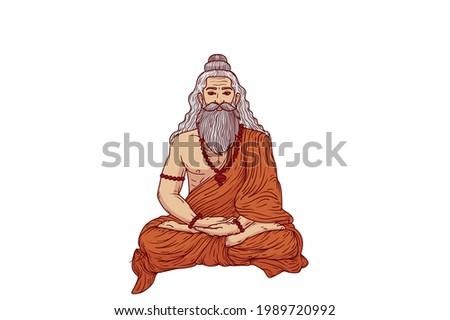 Sage Saint Rishi cartoon image illustration Stockfoto ©