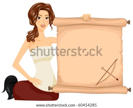 Sagittarius / A Brunette Centaur Holding a Scroll With the Image of a Bow and Arrow Printed on it