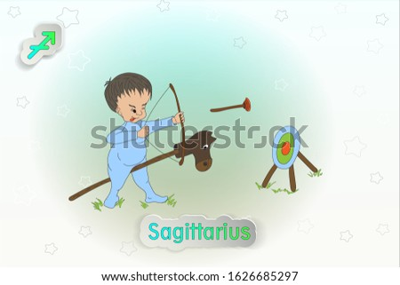 Sagittarius. Baby Zodiac. Vector illustration of the zodiac signs, astrology.